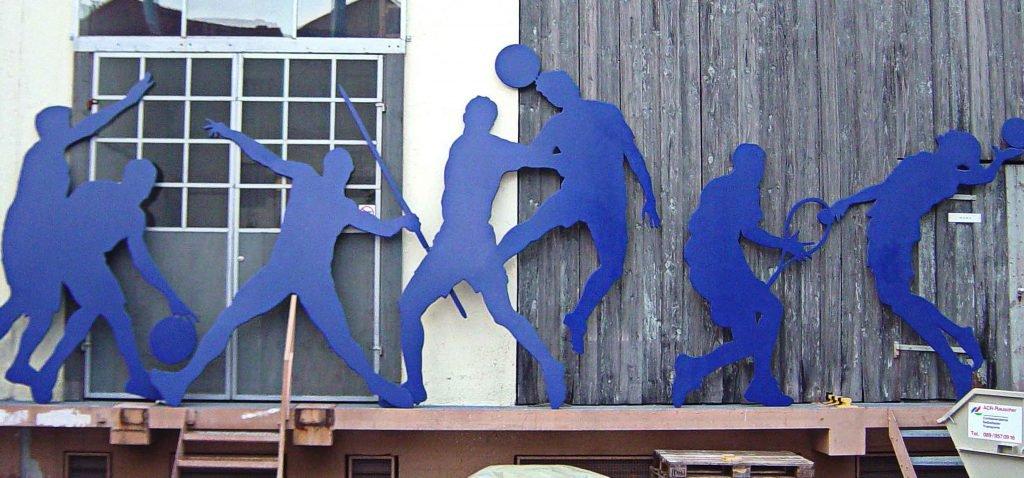 <p>Überlebensgroße Sportler-Cutouts, Dekorbau, Auftraggeber: DekoDesign</p>